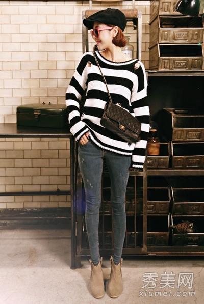 针织衫搭配牛仔裤 韩范儿风格超美