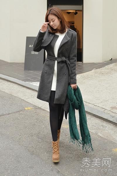 淑女冬装搭配图片 呢大衣 针织连衣裙温柔