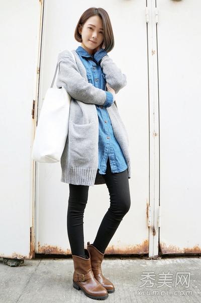 长款毛衣外套配打底裤 视觉超显瘦 - 百科教程