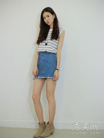 舒适棉T加百科时尚矮个短裙穿出瘦高感-女孩女生求游戏名图片