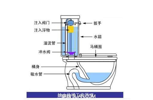 三联阅读配图 抽水马桶是现在家庭用得比较多的一种马桶,这种马桶给人们带来便利的同时抽水马桶也有可能出现一系列的毛病,抽水马桶水箱漏水就是比较常见的一个问题,那么抽水马桶水箱漏水怎么办呢? 首先我们来分析下家里的抽水马桶导致漏水的可能原因,一般来马桶漏水主要的原因都是出在排水阀上,有可能是出现在安装排水阀使的一些不当和使用上面,还有就是排水阀的底钩和密封胶片等地。 抽水马桶水箱漏水原因: 1、水箱材质问题:水箱材质不好或者水箱内部零件老旧,由于现在马桶行业迅速起步,面对马桶的市场前景广阔,许多小的厂家生产一