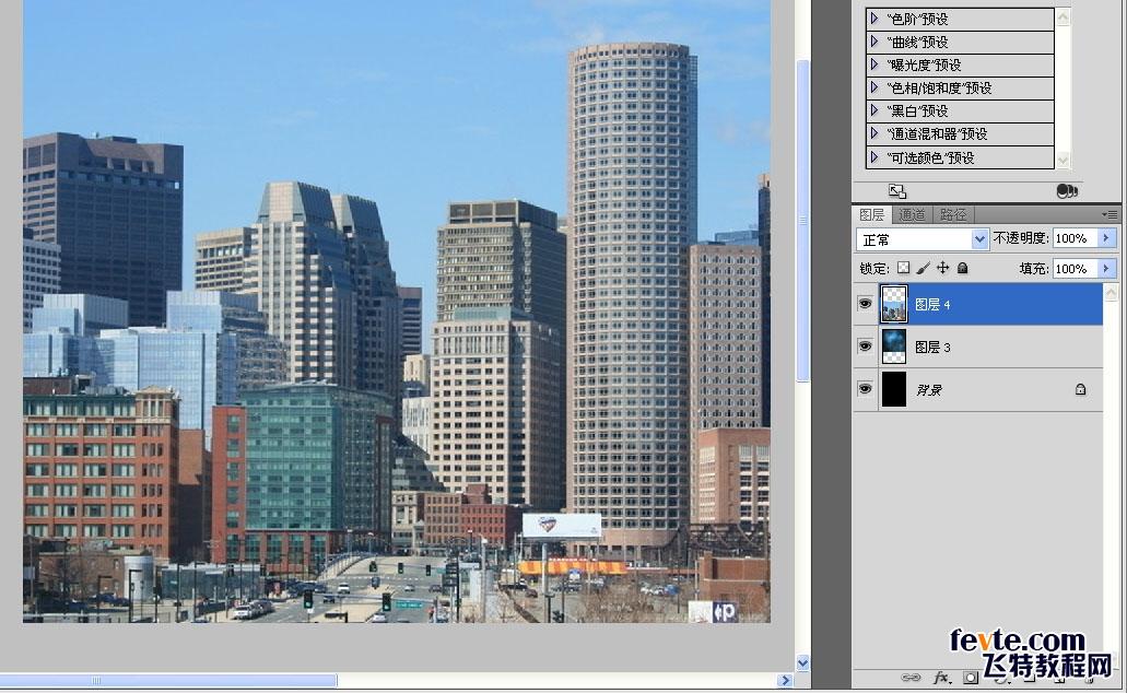 置入一张城市高楼图,让背景丰富一点.