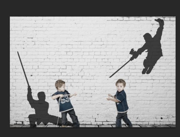 平面设计 photoshop > ps为儿童图片制作简单搞笑的影子艺术特效