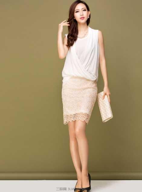 仙美蕾丝半身短裙搭配图片