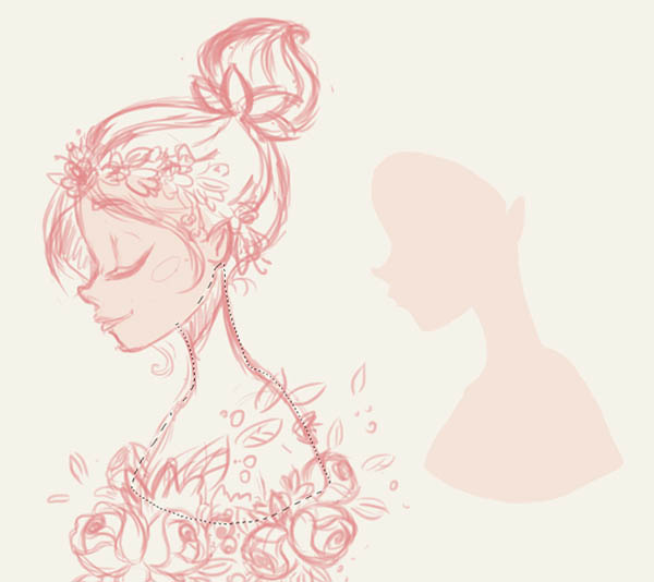ps鼠绘漂亮的初春花饰卡通女孩