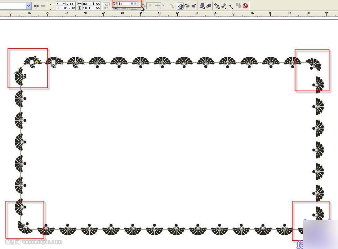 coreldraw简单绘制漂亮的花纹边框技巧介绍