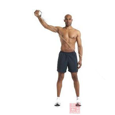 使你所要锻炼的手臂接近拉力器