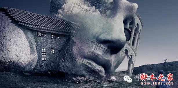 用ps图片素材合成一个石屋前的老人抽象画