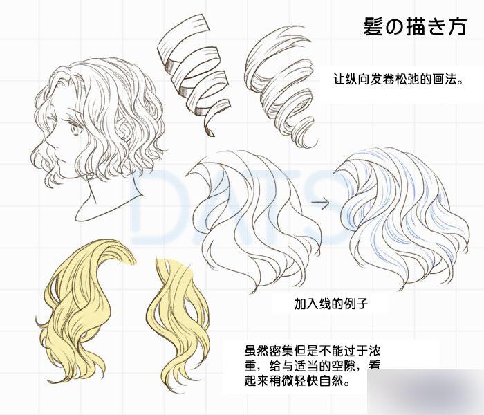 头发的画法和各种发型的表现手法方法,教程真的很不错,很值得大家学习