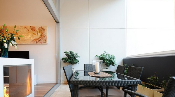 澳洲精致复式公寓装修效果图      客厅,餐厅以及厨房位于公寓的第二