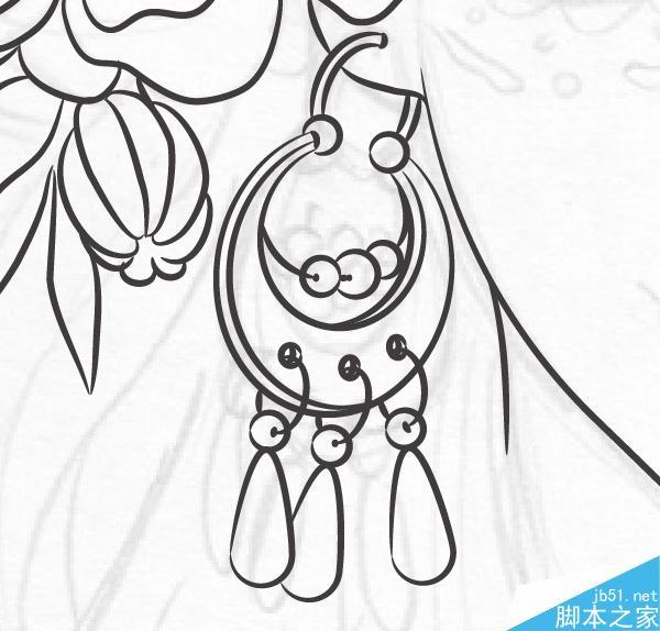 唯美手绘插画古装耳环