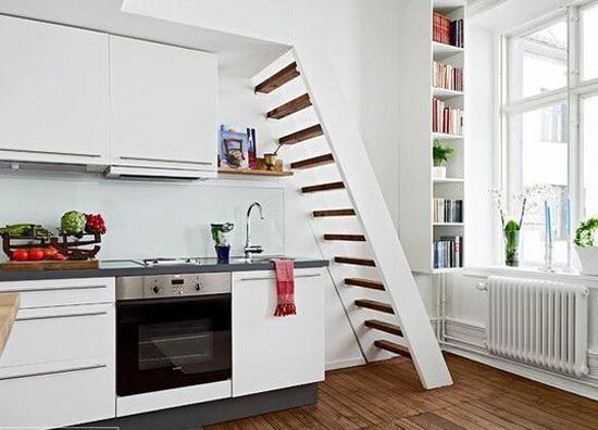 家居装修 室内设计理论 > 小户型loft装修设计      厨房里有楼梯是一